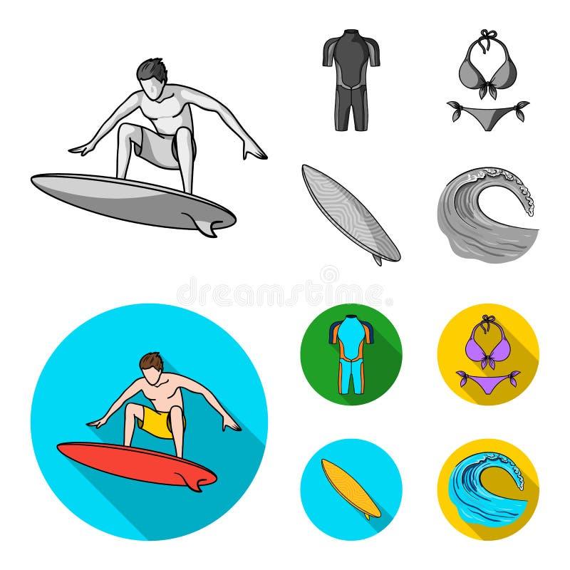 Surfer, Wetsuit, Bikini, Surfbrett Surfende gesetzte Sammlungsikonen einfarbiges, flaches Artvektorsymbolauf lager stock abbildung