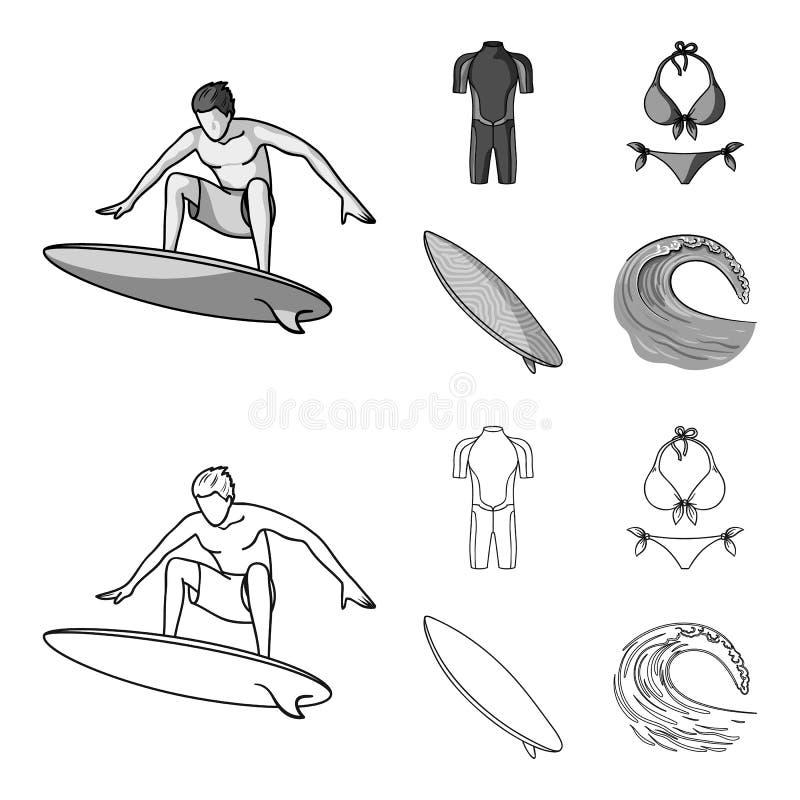 Surfer, Wetsuit, Bikini, Surfbrett Surfende gesetzte Sammlungsikonen im Entwurf, einfarbiger Artvektor-Symbolvorrat vektor abbildung