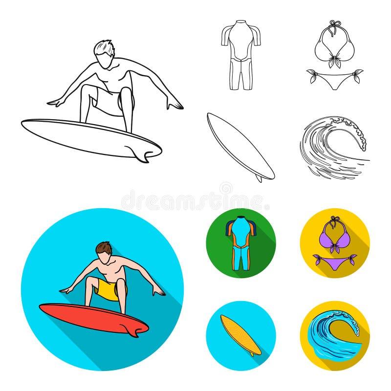 Surfer, Wetsuit, Bikini, Surfbrett Surfende gesetzte Sammlungsikonen im Entwurf, flache Artvektorsymbol-Vorratillustration vektor abbildung