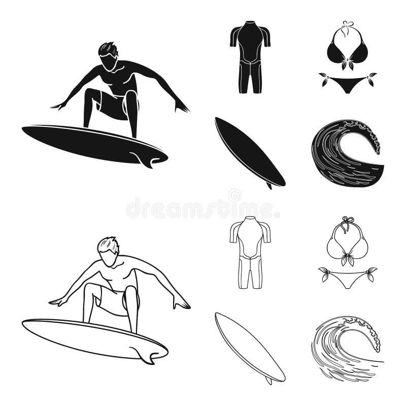 Surfer, Wetsuit, Bikini, Surfbrett Surfende gesetzte Sammlungsikonen im Schwarzen, Entwurfsartvektorsymbol-Vorratillustration vektor abbildung
