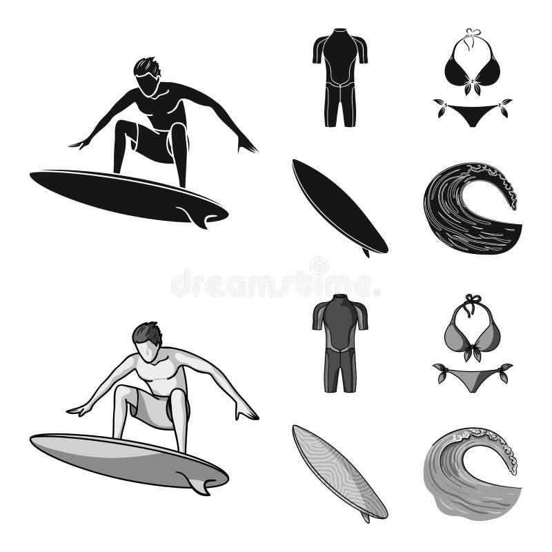 Surfer, Wetsuit, Bikini, Surfbrett Surfende gesetzte Sammlungsikonen im Schwarzen, monochrom Artvektor-Symbolvorrat stock abbildung