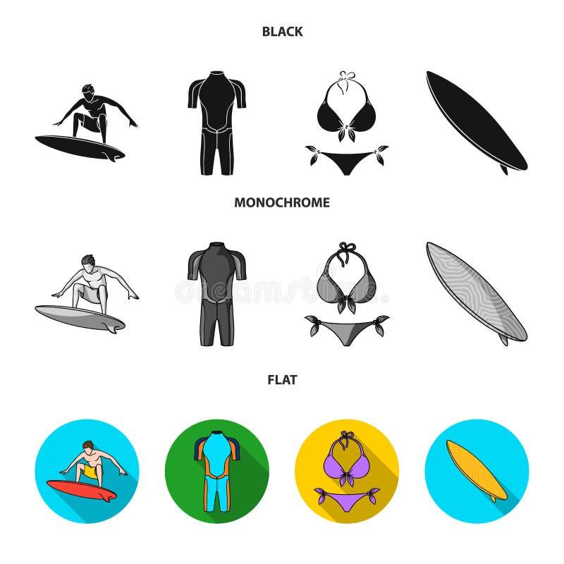 Surfer, Wetsuit, Bikini, Surfbrett Surfende gesetzte Sammlungsikonen schwarzes, flaches, einfarbiges Artvektorsymbolauf lager lizenzfreie abbildung