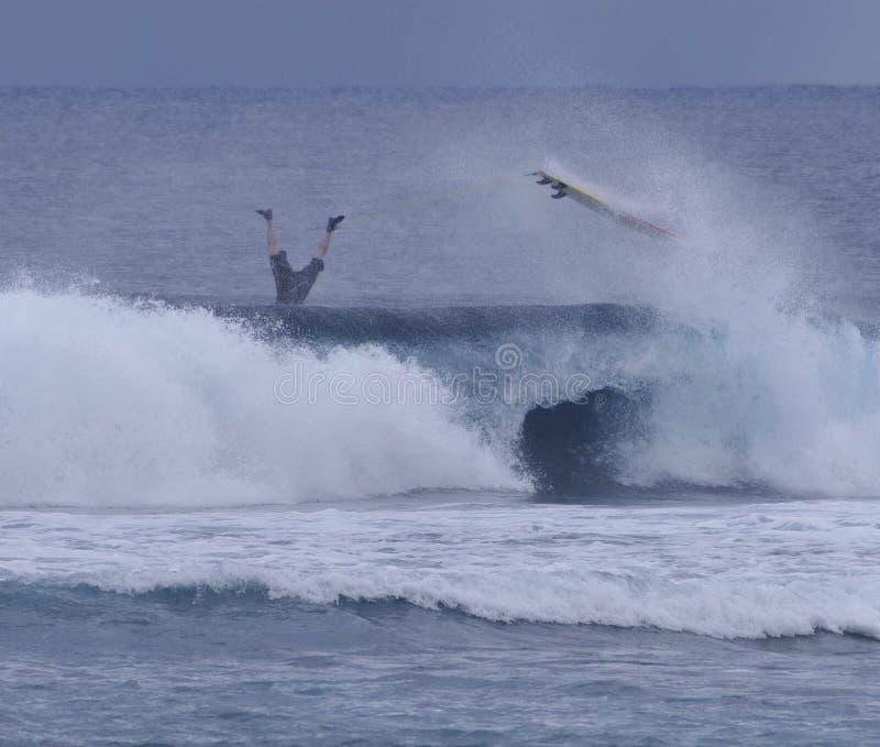 Surfer wipeout royalty-vrije stock afbeeldingen