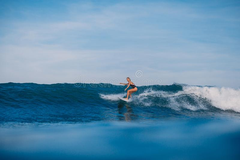 Surfer woman at surfboard ride on wave. Sporty woman in ocean during surfing. Surfer woman at surfboard ride on wave. Woman in ocean during surfing stock photo