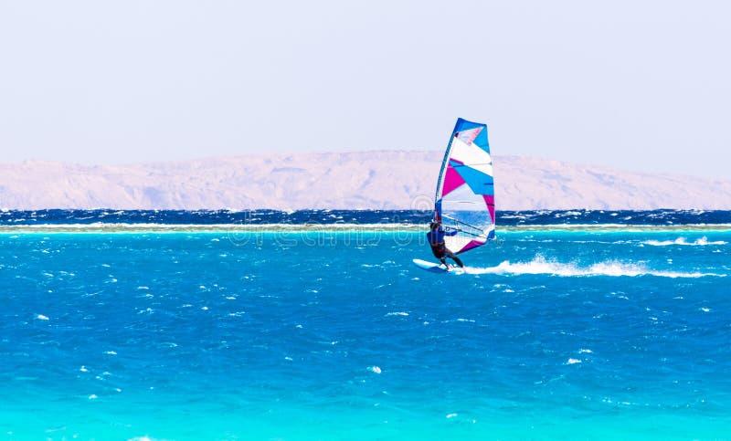 Surferfahrten im Roten Meer auf dem Hintergrund der felsigen Küste in Ägypten Dahab lizenzfreie stockfotos
