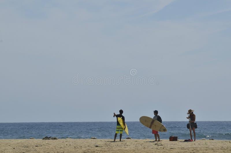 Surfers με τις ιστιοσανίδες στο τοπίο Baja, Μεξικό ακτών παραλιών στοκ εικόνες