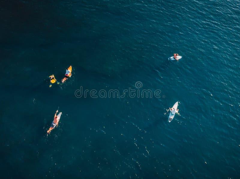 Surfers avec des planches de surf dans la vague de attente d'océan bleu Silhouette d'homme se recroquevillant d'affaires photos libres de droits