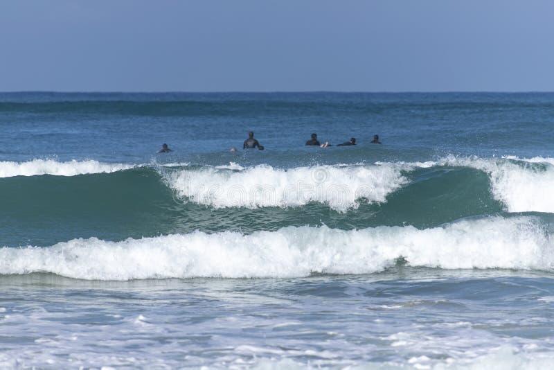 Surfers catching a wave. Foam coastal waves. Mediterranean Sea. royalty free stock image