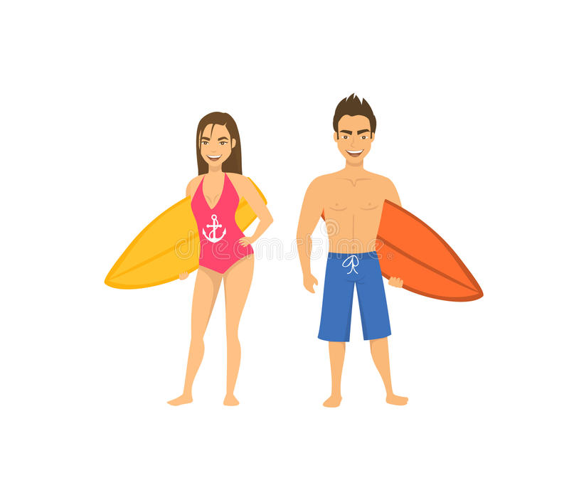 Surfers couple, man and woman standing with surfboards isolated stock illustration