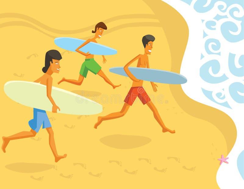 Download Surfers courants d'océan illustration de vecteur. Illustration du romantique - 8655232