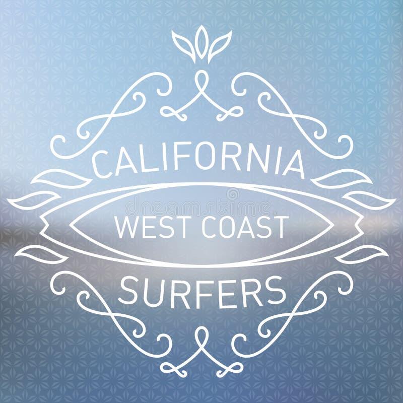 Surfers de côte ouest de la Californie Style de monogrammes Illustration W de vecteur illustration libre de droits