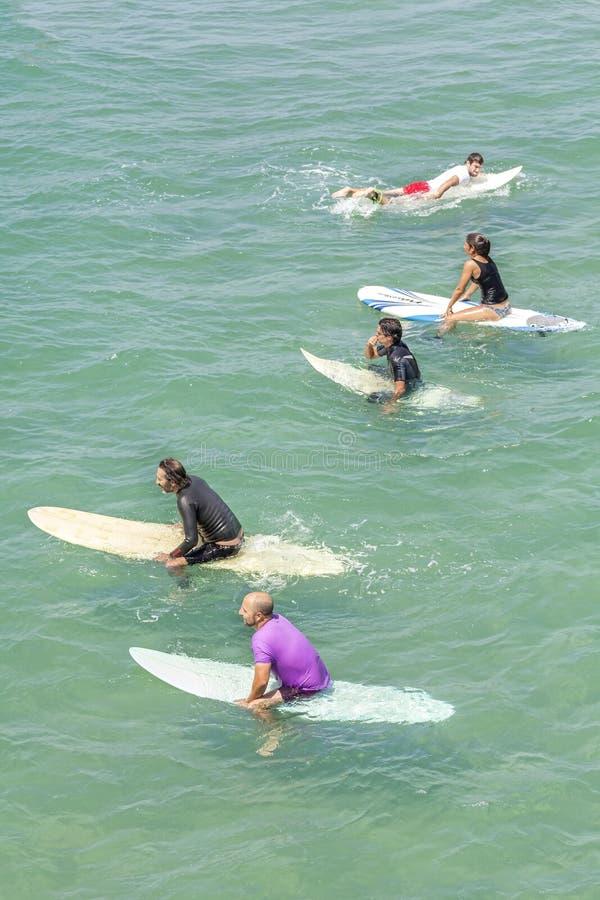 Surfers die op golven wacht royalty-vrije stock afbeelding