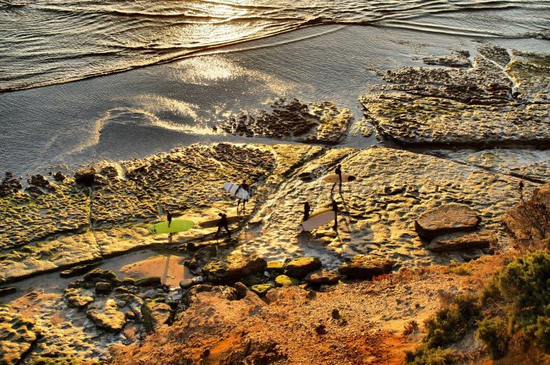 Surfers entrant au coucher du soleil photos libres de droits