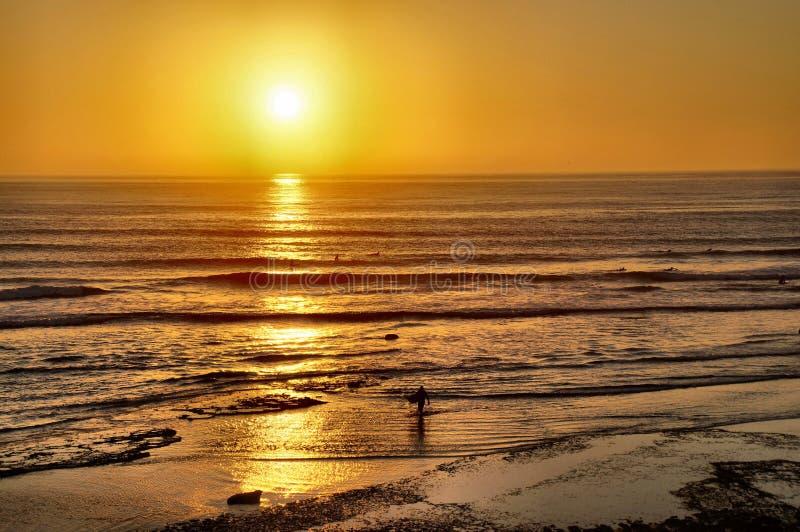 Surfers entrant au coucher du soleil images libres de droits