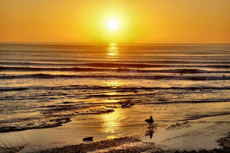 Surfers entrant au coucher du soleil image libre de droits