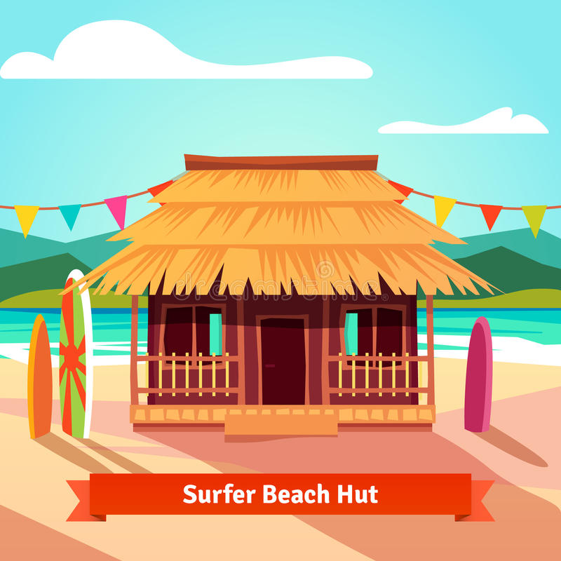 Surfers lagoon beach hut with standing surfboards. Flat style illustration isolated vector illustration