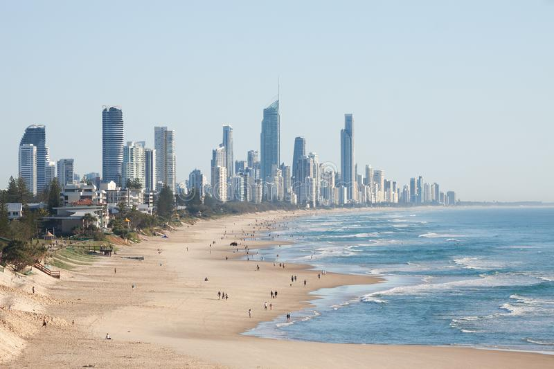 Panoramic view of Surfers Paradise beachfront, one of the most popular holiday destinations in Australia. royalty free stock photo