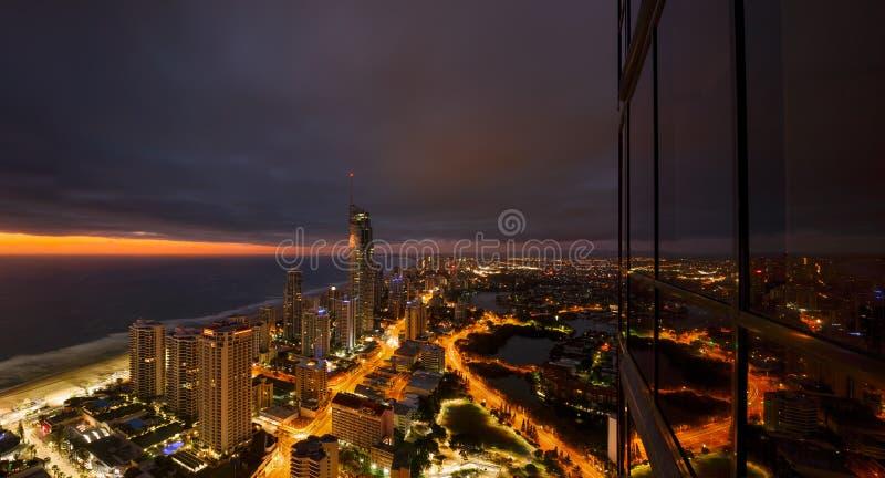 surfers paradise at night gold coast australia stock image image