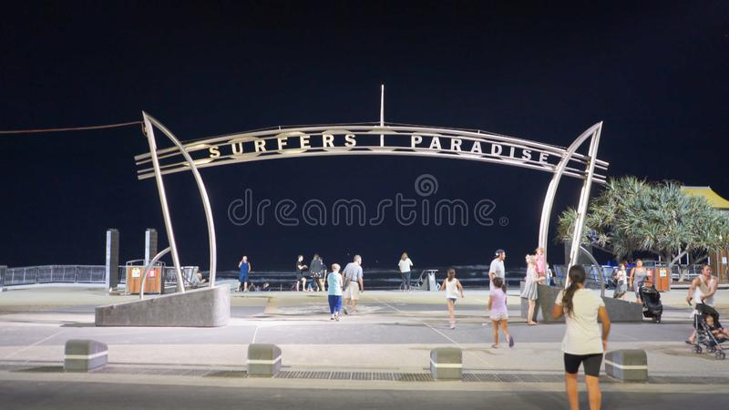 SURFERS PARADISE, AUSTRALIA-MARCH, 6, 2017: night shot of the surfers paradise sign on main beach. In queensland, australia royalty free stock photography