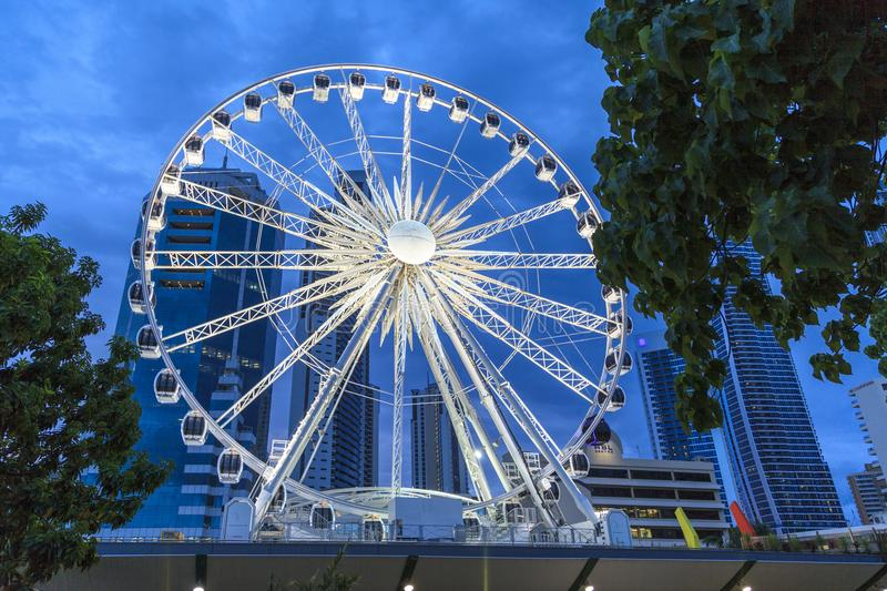 The Wheel of Surfers Paradise. SURFERS PARADISE - FEB 22: The Wheel of Surfers Paradise is a 60 meter tall Ferris wheel located on top of the Transit Centre. Feb stock photos