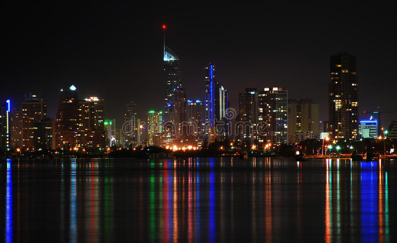 Surfers Paradise at night Gold Coast Qld Australia. Reflecting lights of Surfers Paradise on Broadwater at night Gold Coast Qld Queensland Australia royalty free stock photography