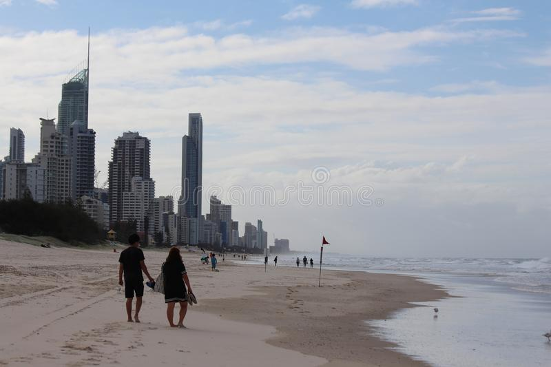 Surfers Paradise by The Sea. Surfers Paradise is a suburb within the local government area of City of Gold Coast in Queensland, Australia. At the 2011 census stock photo