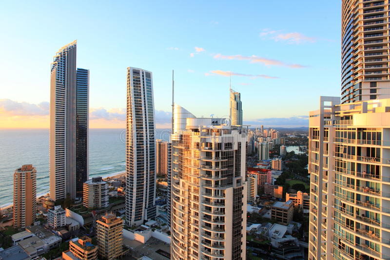 Surfers Paradise high-rise view at sunrise stock photo