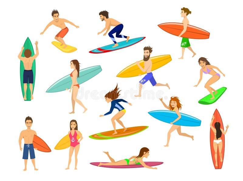 Surfers réglés hommes et femmes surfant, vagues de monte, support, promenade, course, bain avec des planches de surf, illustration de vecteur