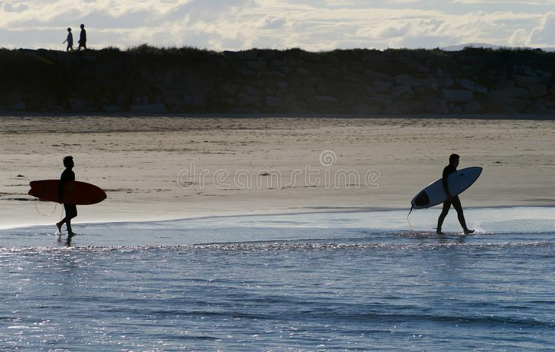 Surfers silhouettés portant leurs planches de surf dans l'océan pacifique image libre de droits