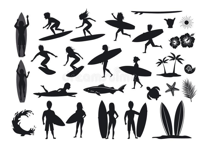 Surfers silhouettes set. men and women surfing, riding waves, stand, walk, run, swim with surfboards, symbols design decoration, stock illustration