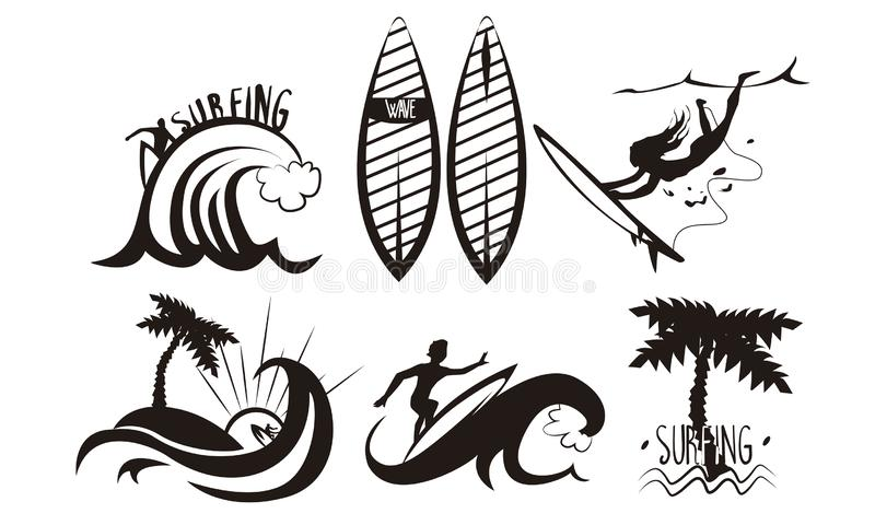Surfers Silhouettes Set, Young Man and Woman Riding Waves with Surfboards, Summer Extreme Water Sport Elements Vector vector illustration