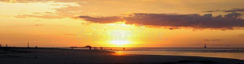 Surfers sur la plage au coucher du soleil image libre de droits