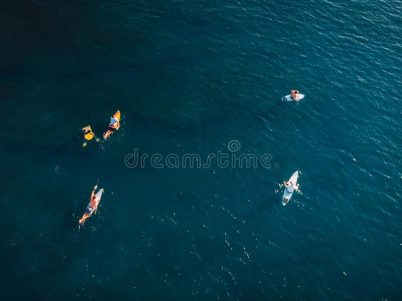 Surfers with surfboards in blue ocean waiting wave. Aerial view. With drone royalty free stock photos