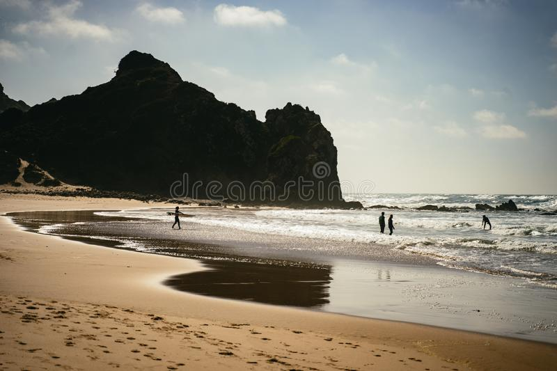 Surfers and swimmers on the beach. At Praia do Amado, Algarve in shallow surf at the edge of the sea with an imposing headland silhouetted behind them stock image