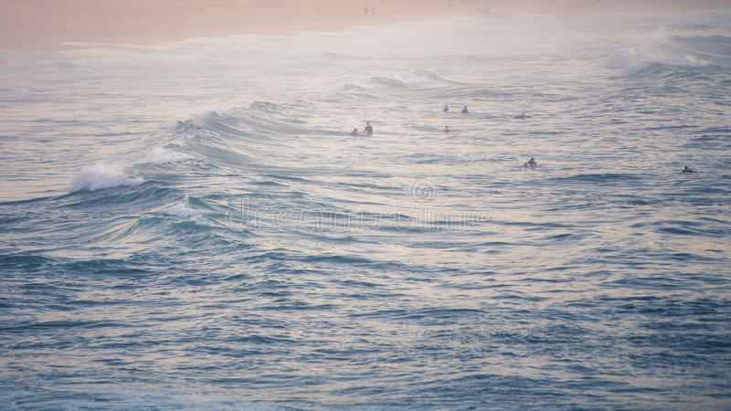 Surfers waiting royalty free stock photos