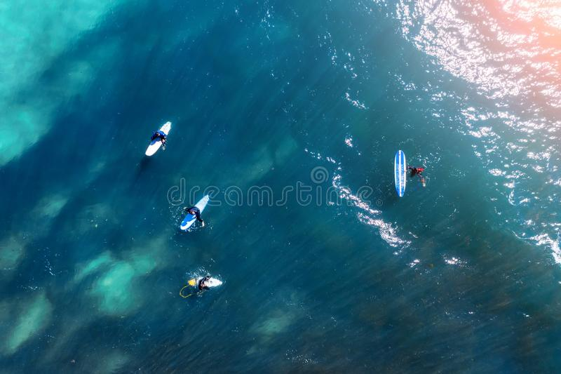 Surfers on the water in the bay in anticipation of a big wave, aerial top view.  stock photo