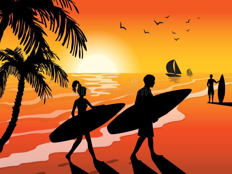 Surfersstrand en Zonsondergangachtergrond vector illustratie