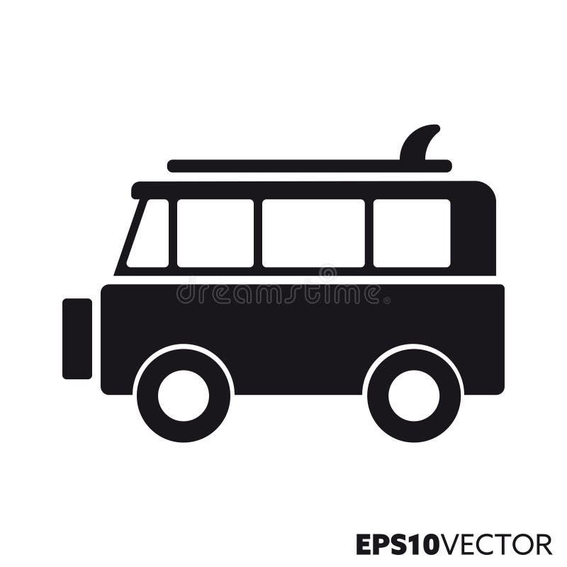Surfervan vector glyph pictogram vector illustratie