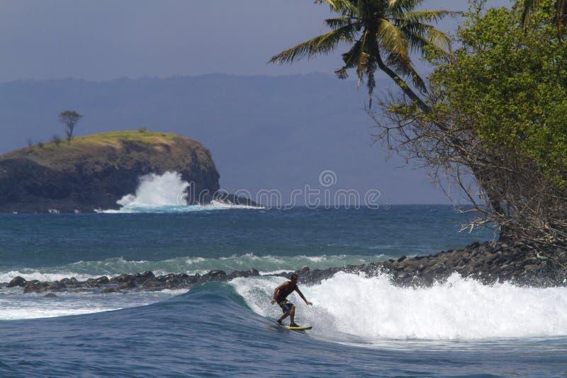 Surfervangst de golf stock afbeeldingen