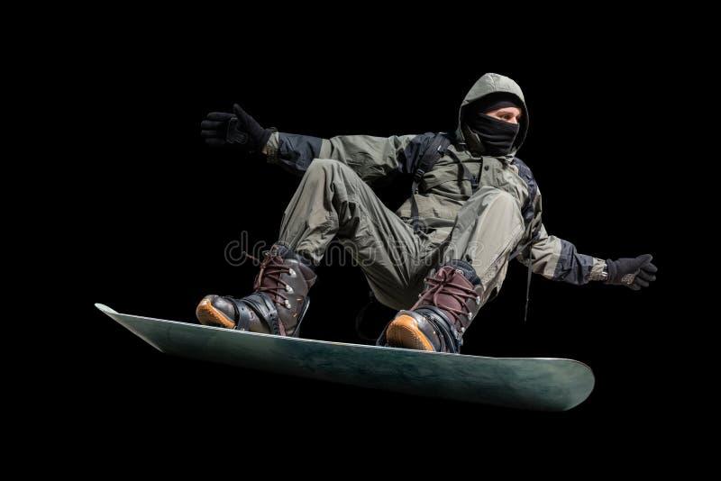 Surfeur de vol d'isolement sur le backgground noir images libres de droits