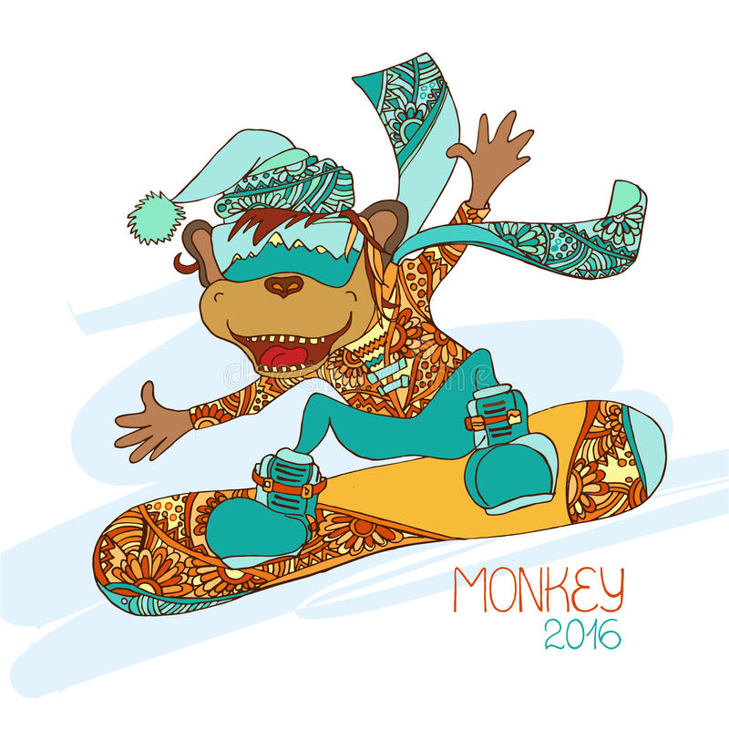 Surfeur drôle de singe de bande dessinée Symbole de la nouvelle année 2016 illustration de vecteur