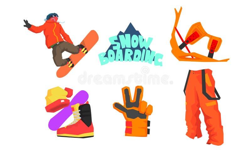 Surfeur et faire du surf des neiges l'ensemble d'équipement, sport d'hiver, illustration active de vecteur de mode de vie illustration libre de droits