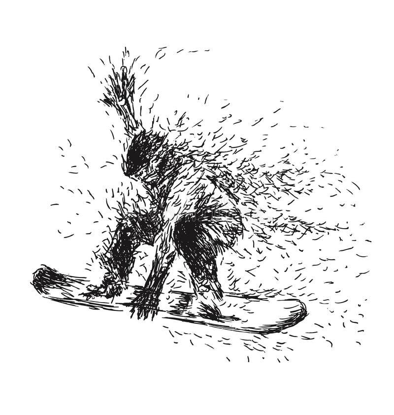 Surfeurs de dessin de main illustration libre de droits