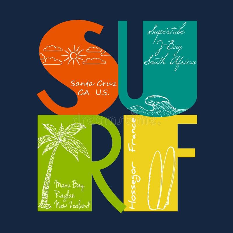 Surfez l'emblème avec tiré par la main du soleil, de la vague, de la paume et de la planche de surf illustration de vecteur