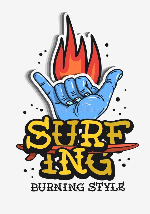 Surfez le cru orienté surfant le tatouage que traditionnel a influencé les graphiques esthétiques pour des médias de vecteur de T illustration stock