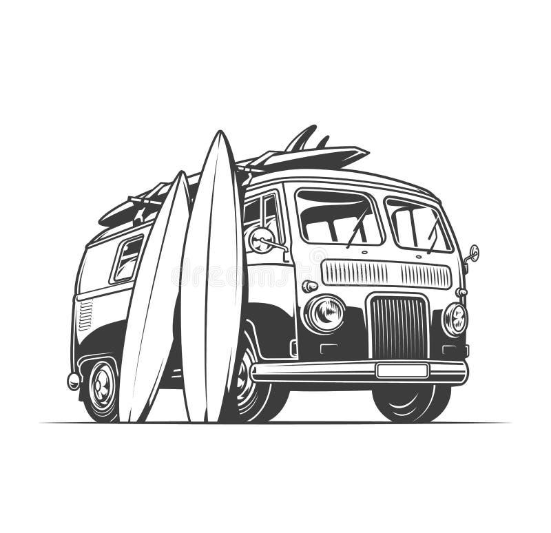 Surfez le fourgon et les planches de surf illustration libre de droits