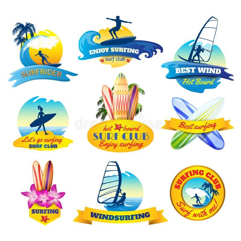 Surfingów emblematy ustawiający ilustracji