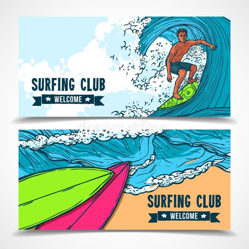 Surfingów sztandary ustawiający royalty ilustracja
