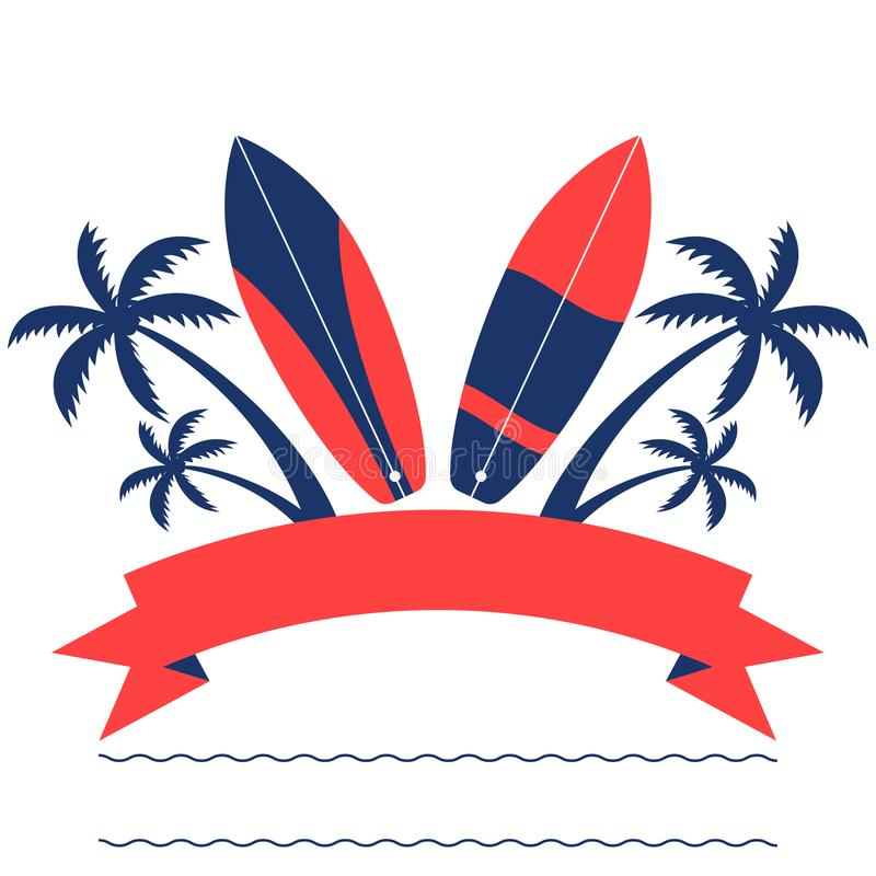 Surfing banner with palm trees and surfoards stock illustration