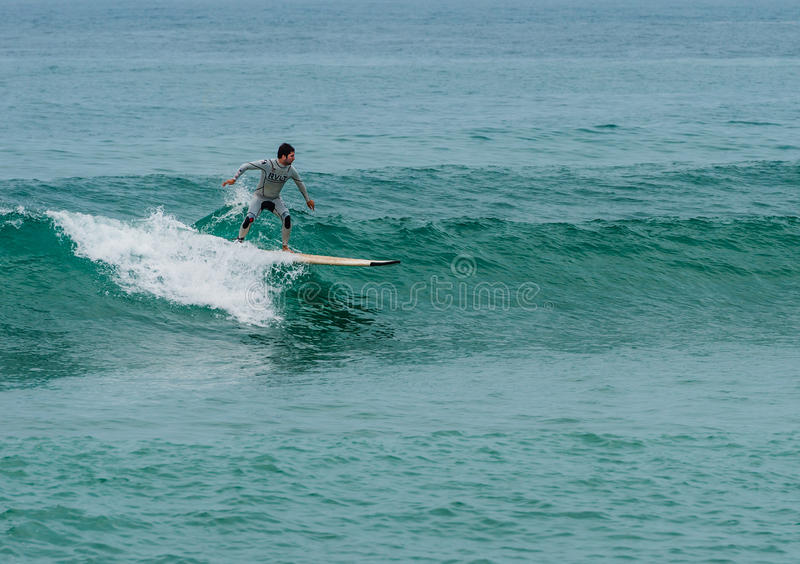 Surfing at Barcelona stock image
